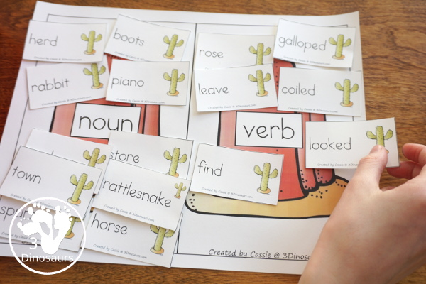 Free Wild West Sorting Nouns & Verbs - with Ghost Town at Sundown - sorting the cards to the noun and verb mats - 3Dinosaurs.com