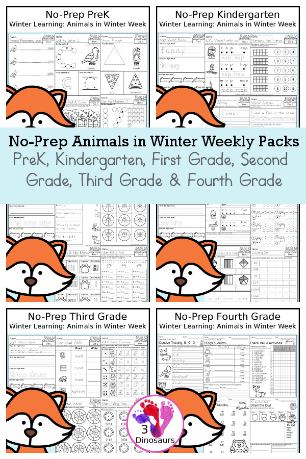 No-Prep Animals in Winter Themed Weekly Packs for PreK, Kindergarten, First Grade, Second Grade, Third Grade & Fourth Grade with 5 days of activities to do for each grade level - You will find math language and more- These are great winter-themed animal printables with loads of fun with for kids to have for fun winter learning activities - 3Dinosaurs.com