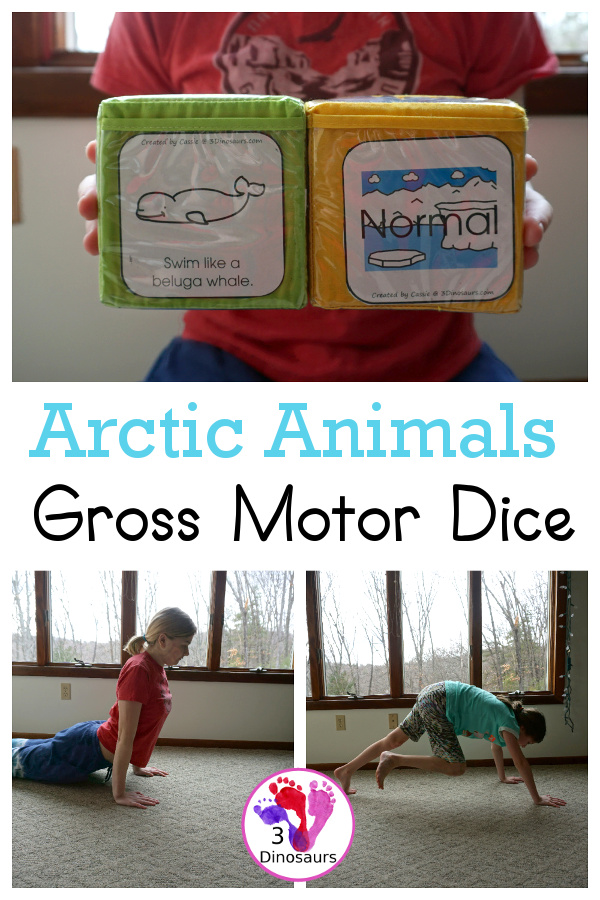 Free Arctic Animals Themed Gross Motor Dice to get kids moving and have fun with easy gross motor animals movements for the arctic animals. This is a fun change up and great for doing polar bear walks, swimming like a beluga whale, and more - 3Dinosaurs.com
