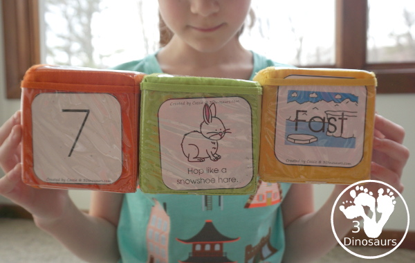 Free Arctic Animals Themed Gross Motor Dice to get kids moving and have fun with easy gross motor animals movements for the arctic animals. This is a fun change-up and great for doing polar bear walks, swimming like a beluga whale, and more - 3Dinosaurs.com