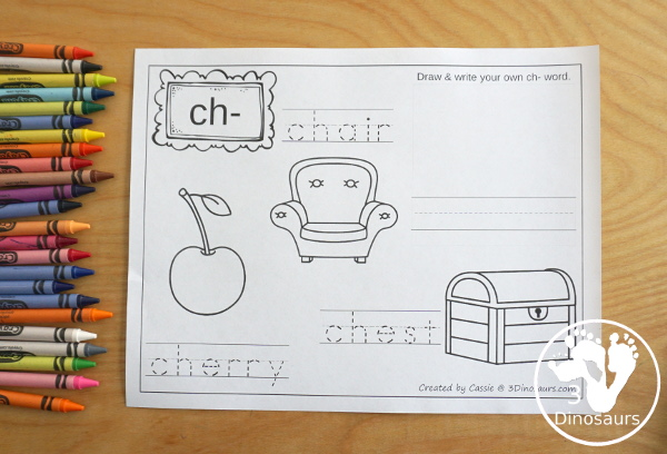 Digraph coloring page with 3 pictures color and words to trace wth matching space to make your own digraph - 3Dinosaurs.com