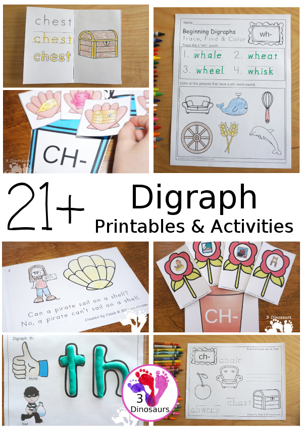 21+ Consonant Digraph Printables & Activities - a fun collection of printables with wall cards, hands-on activities, easy reader books, puzzles and more all to help to learn the consonant digraphs. - 3Dinosaurs.com