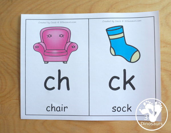Free Digraph Wall Cards -with consonant digraphs with some beginning and ending digraphs - 3Dinosaurs.com