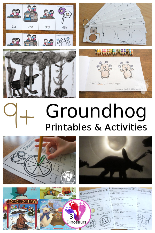 9+ Groundhog Day Printables & Activities - all the fun activities for Groundhog Day with printable packs, easy reader books, sequencing and more - 3Dinosaurs.com