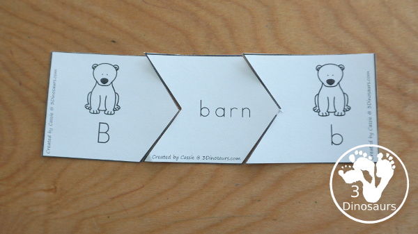 Free Polar Bear ABC Matching Puzzle - fun ways to work on matching letters with polar bears with letters, words, and pictures An easy hands-on alphabet learning activities for kids in kindergarten and preschool - 3Dinosaurs.com