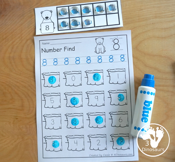 Polar Bear Number Find - with number digit and number word options - 3Dinosaurs.com