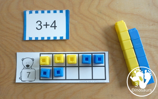 Free Polar Bear Themed Ten Frame Cards with numbers from 1 to 10 with two types of cards - with ways to work on addition - 3Dinosaurs.com