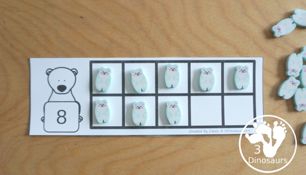 Free Polar Bear Themed Ten Frame Cards with numbers from 1 to 10 with two types of cards - shows ways to use one to one matching for numbers - 3Dinosaurs.com