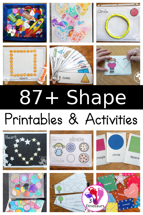 Shape Activities & Printables on 3Dinosaurs.com