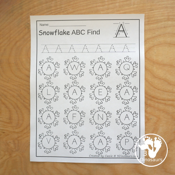 Snowflake Themed ABC Letter Find: It has all the letters of the alphabet with uppercase and lowercase options with tracing - 3Dinosaurs.com