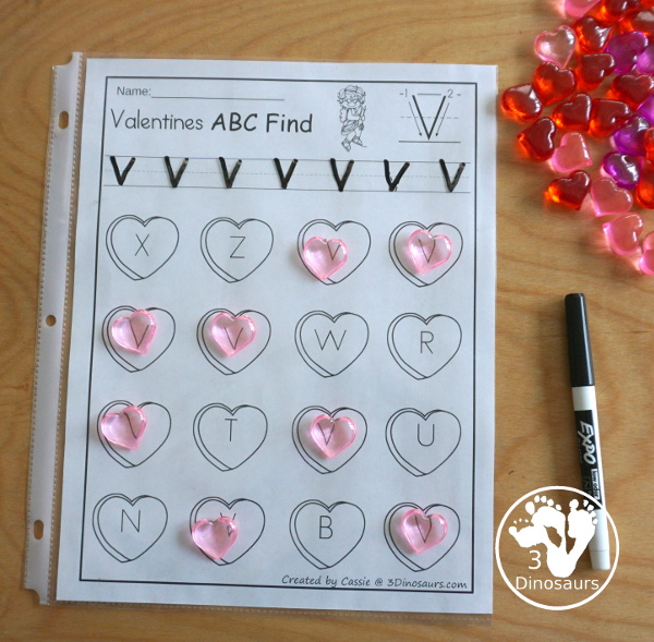 Valentines ABC Letter Find - uppercase and lowercase letter finds with all 26 letters of the alphabet with fun heart finds for working on learning and tracing letters - 3Dinosaurs.com