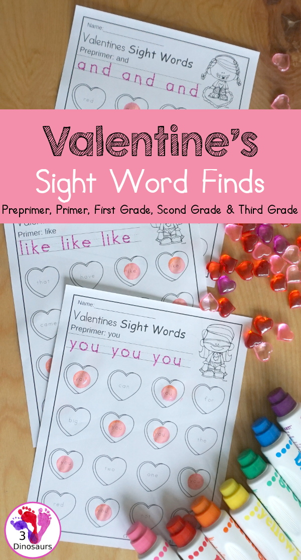 Valentines Sight Word Finds: Dolch Preprimer, Primer, First Grade, Second Grade, and Third Grade - You have tracing the sight words and find the sight words on fun hearts. This is a great no-prep printable for Valentines- 3Dinosaurs.com