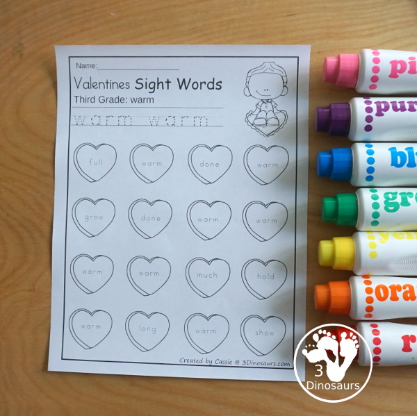 Valentines Sight Word Finds: has all 220 Dolch sight words with from the Preprimer, Primer, First Grade, Second Grade, and Third Grade lists - You have tracing the sight word and then find the sight word in an easy no-prep printable - 3Dinosaurs.com