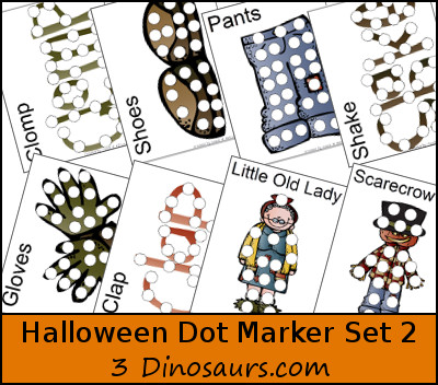 Halloween Pack Extra 2: Dot Markers - Little Old Lady Who Was Not Afraid of Anything - 3Dinosaurs.com