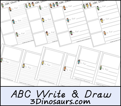 Free ABC Writing Pages - 3 Dinosaurs