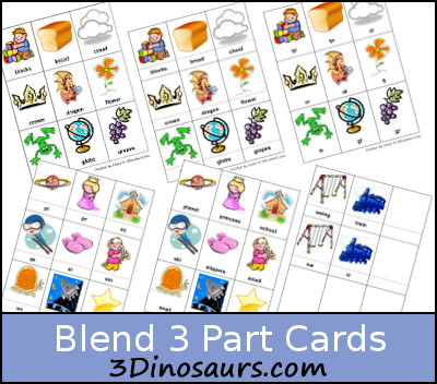 Free Blends 3 part Cards - 3 Dinosaurs