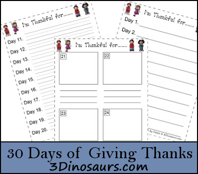 30 Days Being Thankful - 3Dinosaurs.com