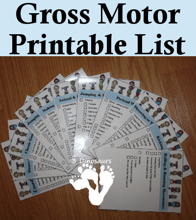 Gross Motor Printable List - 3Dinosaurs.com