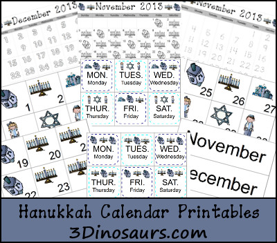 Hanukkah Calendar - 3Dinosaurs.com