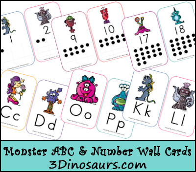 Free Monster ABC & Number Wall Cards - 3Dinosaurs.com