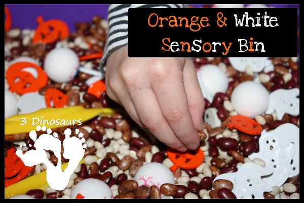 Orange & White Halloween Sensory Bin - 3Dinosaurs.com