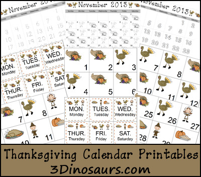Thanksgiving Calendar Cards