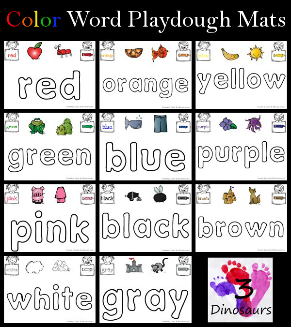 Free Color Word Playdough Mats