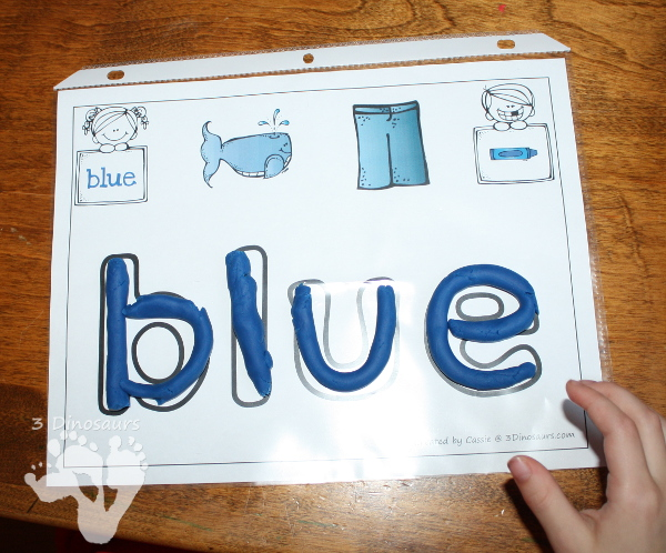 Free Color Word Playdough Mats - 11 color words with picture and playdough mat area for kids to learn the words - 3Dinosaurs.com