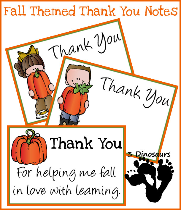 Free Fall Thank You Notes For Teachers - 3Dinosaurs.com