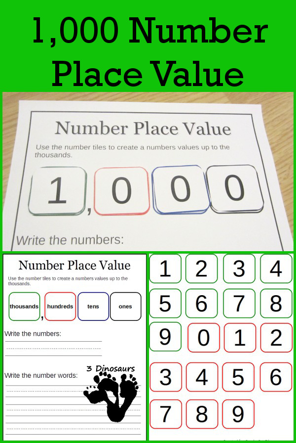 Free 1,000 Number Place Value - 3Dinosaurs.com