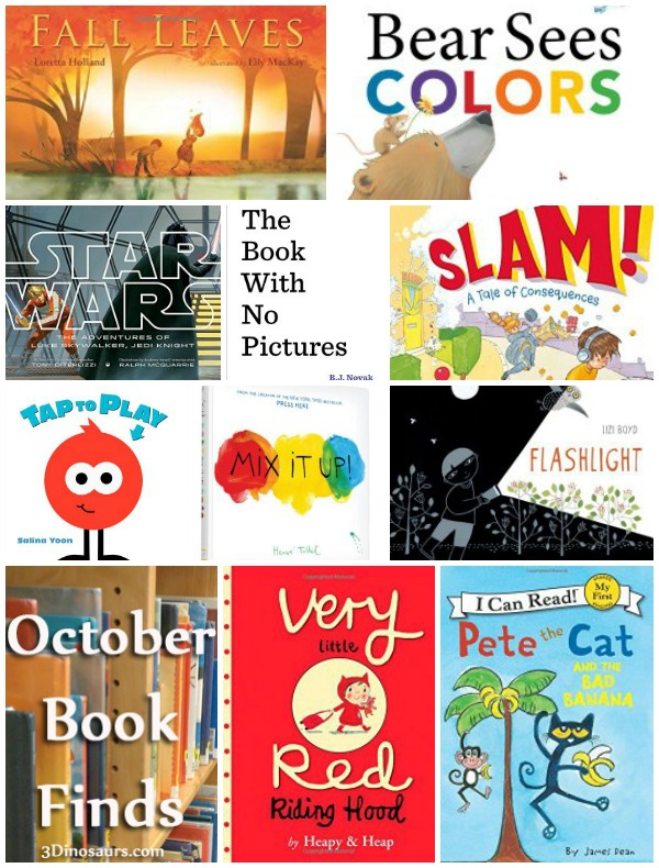 October 2014 Book Finds: wordless, Star Wars, no pictures, colors, interactive books - 3Dinosaurs.com