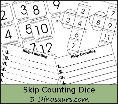 Free Skip Counting Dice - 3Dinosaurs.com