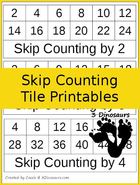 Free Skip Counting Tile Printable | 3 Dinosaurs