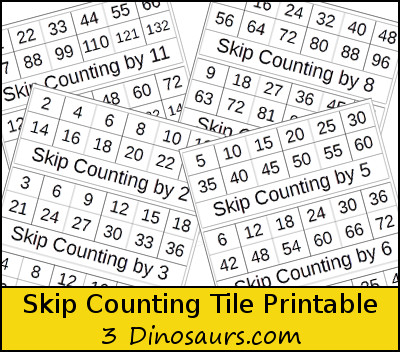 Free Skip Counting Tile Printable   3 Dinosaurs
