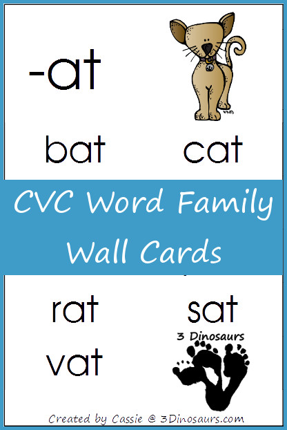 FREE CVC Word Family Wall Cards - 3Dinosaurs.com