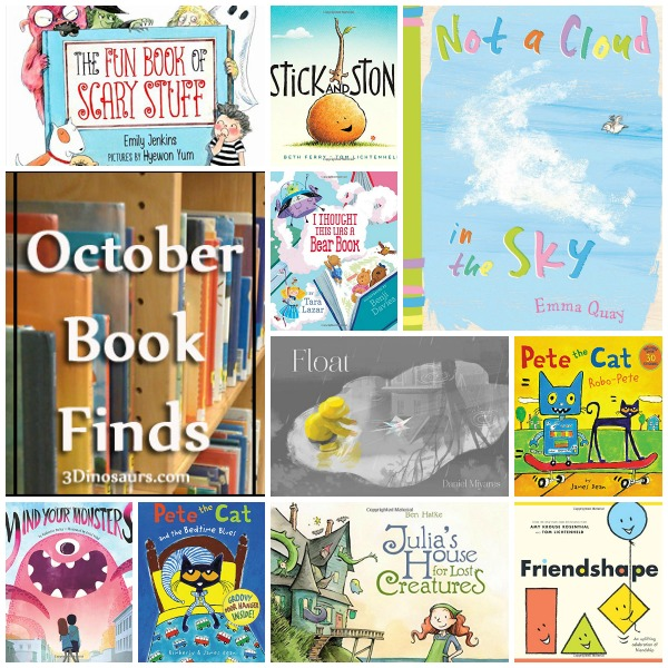 October 2015 Book Finds: wordless books, Pete the Cat, friends, fairy tales, manners, monster - clouds - 3Dinosaurs.com