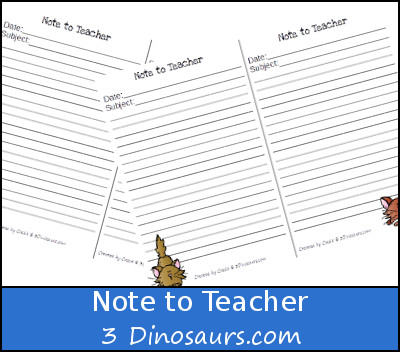 Free Note to Teacher Printable