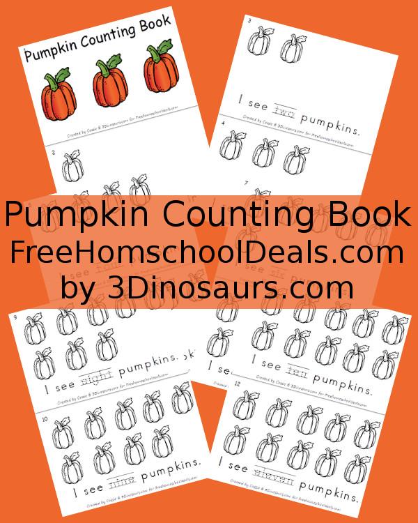 Free Counting Pumpkins Book - 3Dinosaurs.com