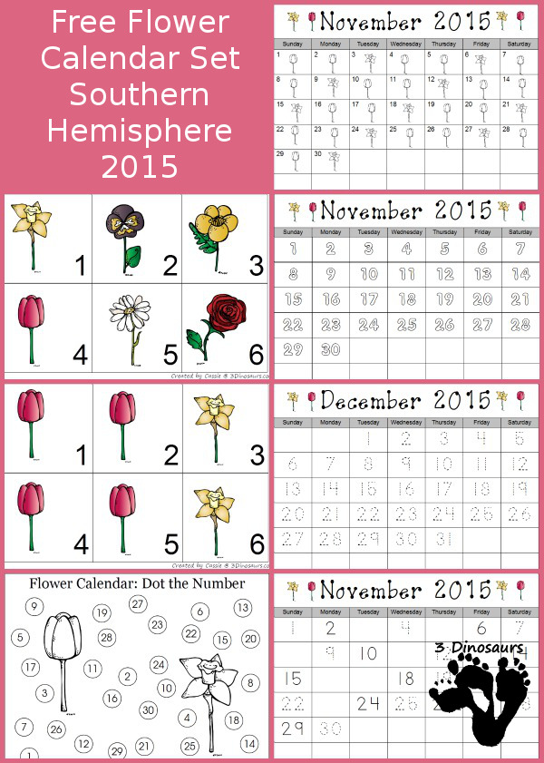 Free 2015 Flower Calendar for Southern Hemisphere - The months are November and December - 3Dinosaurs.com