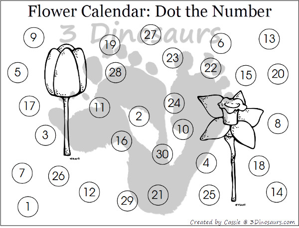 Free 2015 Flower Calendar for Southern Hemisphere - The months are November and December- 3Dinosaurs.com