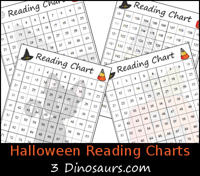 Free Halloween Themed Reading Charts - 3Dinosaurs.com
