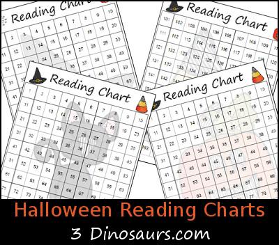 Free Halloween Themed Reading Charts - 3Dinosaurs.com