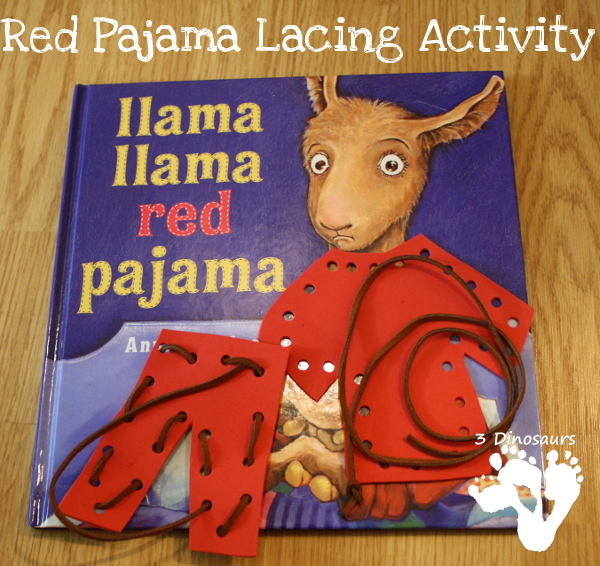 Lacing Red Pajamas activity for kids - 3Dinosaurs.com