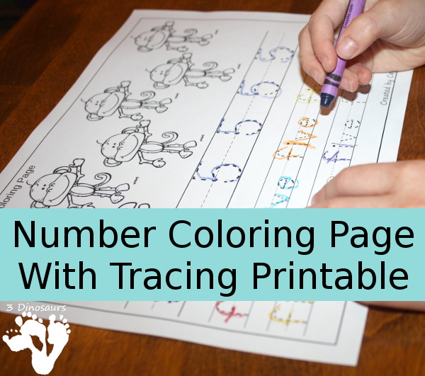 NEW Number Coloring & Tracing Printable | 3 Dinosaurs