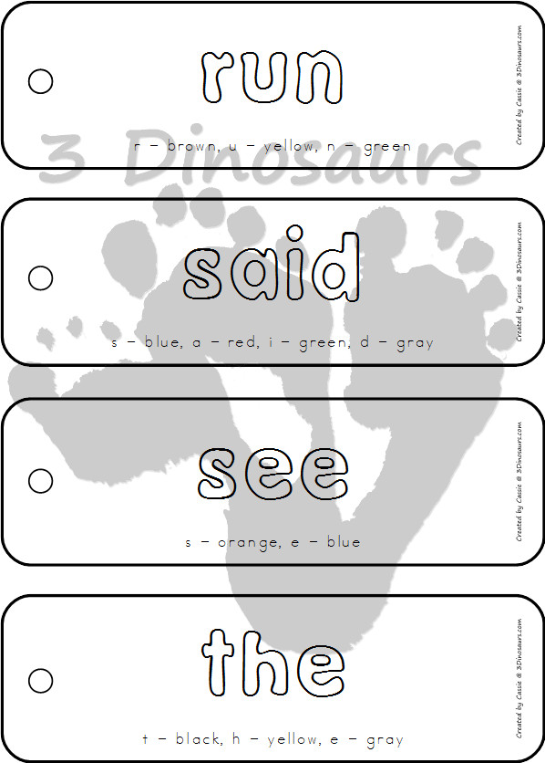 Preprimer Sight Word Coloring Bookmarks - this is in the selling set only - 3Dinosaurs.com