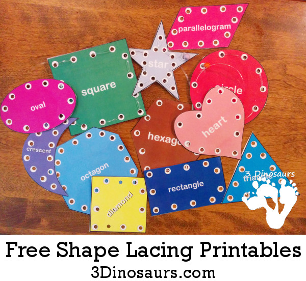 Free Shape Lacing Printable - 12 different shapes - 3Dinosaurs.com