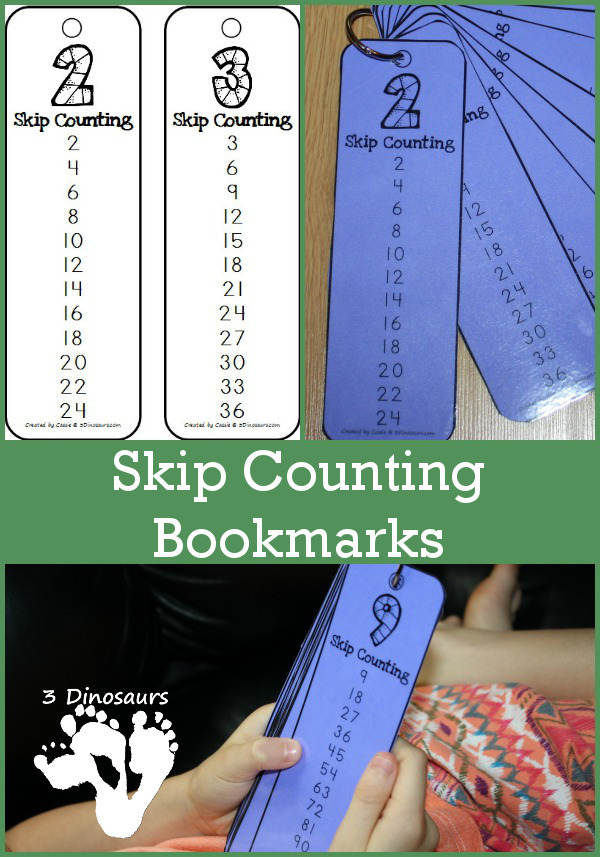 Free Skip Counting Bookmarks- skip counting by 2 through 12 - 3Dinosaurs.com