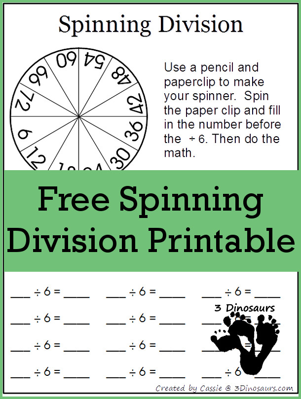 Free Spinning Division Printable: 1 through 12  - 3Dinosaurs.com