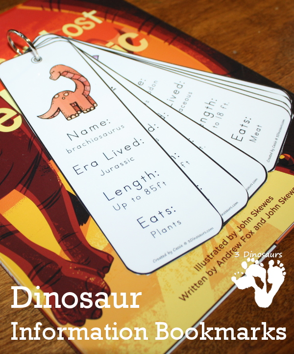 Free 7 Fun Dinosaur Information Bookmarks For Kids - with write in or filled in options - 3Dinosaurs.com
