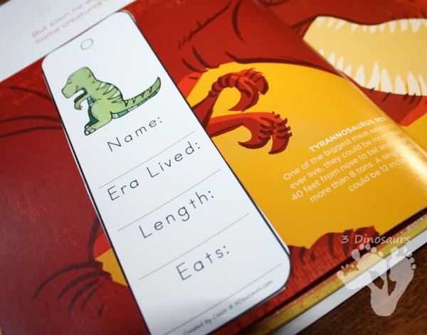 Free 7 Fun Dinosaur Information Bookmarks For Kids - 3Dinosaurs.com